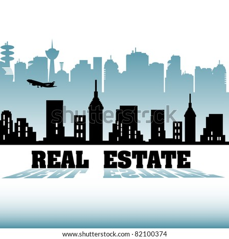 Colorful background with various building silhouettes and the text real estate written with capital letters in front of the buildings