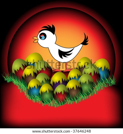 Colorful background with young chicken and colorful eggs. Easter chicken