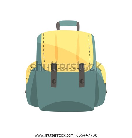 Colorful backpack, classic styled rucksack vector Illustration