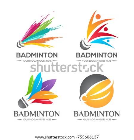 Colorful badminton shuttlecock creative logo symbol