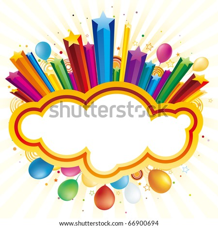 colorful balloon and star,vector celebration background
