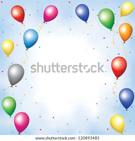 Colorful balloons and confetti flying up in blue sky