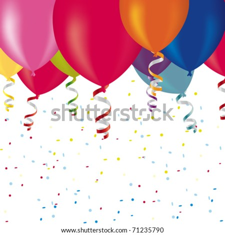 Colorful balloons and confetti in vector art