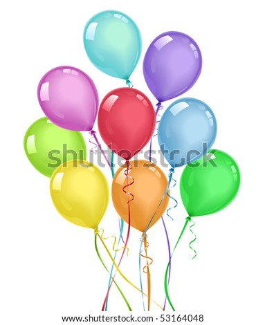 Colorful balloons bouquet. No gradient mesh (blends and simple gradients used).