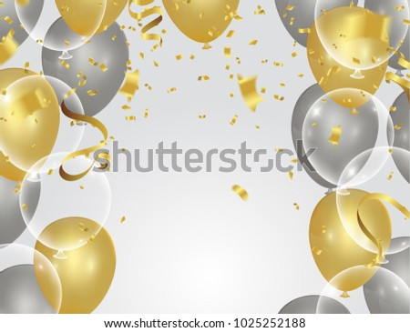 colorful balloons  holiday illustration white transparent with confetti balloons Party decorations for birthday