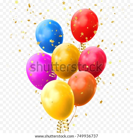 Colorful balloons vector on transparent background. Glossy realistic yellow, red, blue and orange glossy baloon with golden star confetti for Birthday party or balloon greeting card design element.
