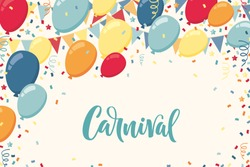 Colorful balloons with triangular party flags, confetti and paper streamers. Vector illustration. Carnival lettering. Place for your text. Design for invitation, poster, card, banner, flyer