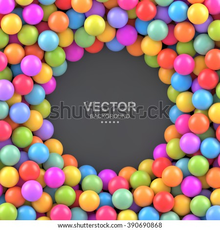Colorful balls background with place for your content. Vector background made with gradient meshes. Pattern design for banner, poster, flyer, card, postcard, cover, brochure.