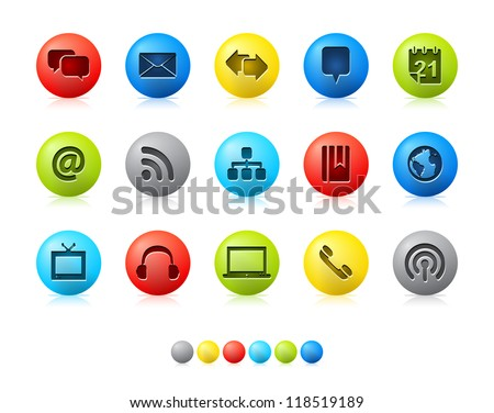 Colorful Balls - Blog Icons Icon set in EPS 8 format with high resolution JPEG EPS file contains six color variations in different layers