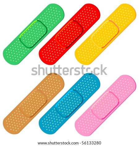 Colorful bandaids set isolated over white background