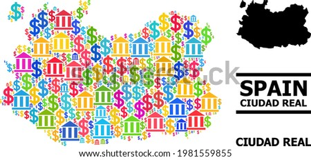 Colorful bank and business mosaic and solid map of Ciudad Real Province. Map of Ciudad Real Province vector mosaic for business campaigns and agitation. Foto stock ©