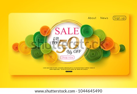 Colorful banner decorated with paper flowers for online shopping, promotional, websites. Vector illustration