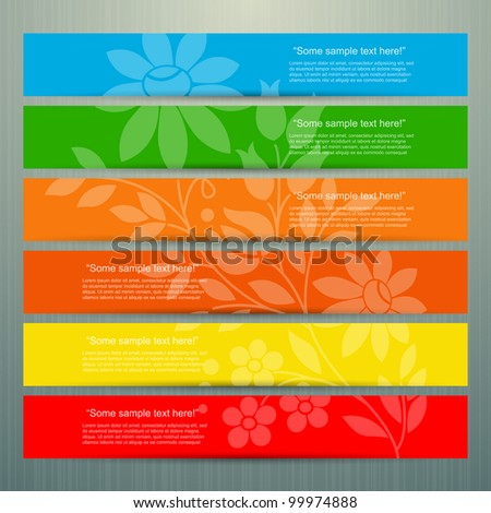 Colorful banner set with flower, vector - stock vector