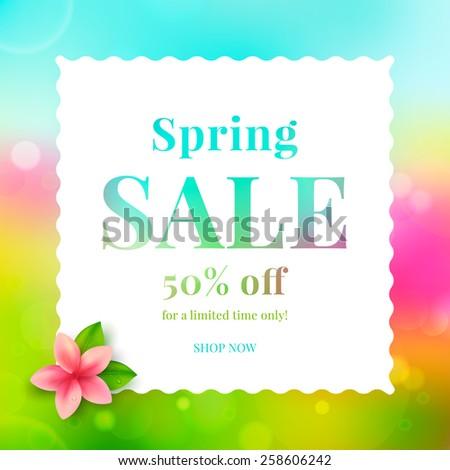 Colorful banner spring sale. Vector illustration.