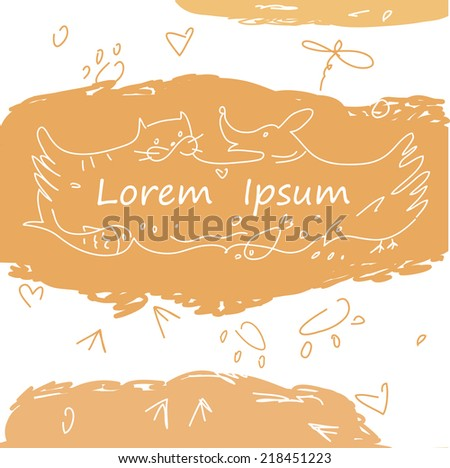 Colorful banner with animals for pet shop. Cat, dog, fish, bird, animal tracks in the logo. Hand-drawn cartoon