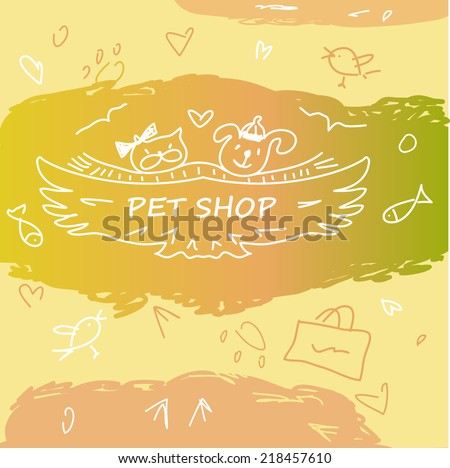 Colorful banner with animals for pet shop. Cat, dog, fish, bird, animal tracks in the logo. Hand-drawn cartoon, funny, kids animalic background