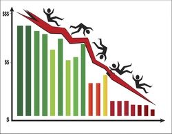 Colorful bar chart showing stock market crashing with men falling downing. Vector illustration format. Saved in illustrator 10.