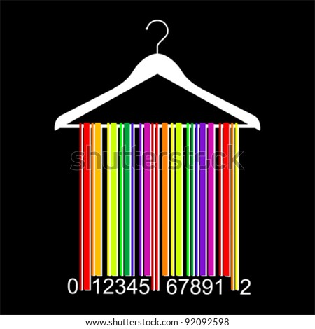 colorful bar code clothes hanger, vector