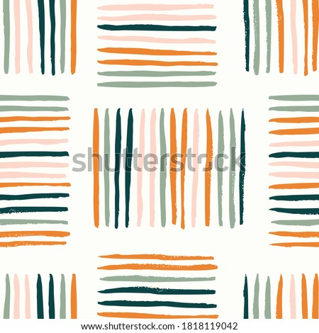 Colorful basket weave abstract vector pattern. Stripes creating rectangles forming a weave. Orange, pink, green colors over white.  Great for home decor, fabric, wallpaper, stationery, design projects Stock foto ©