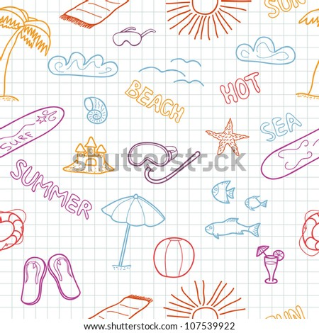 Colorful beach doodles. Vector illustration.