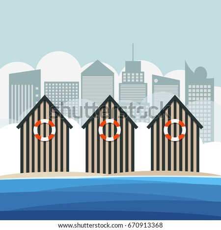 colorful beach huts with