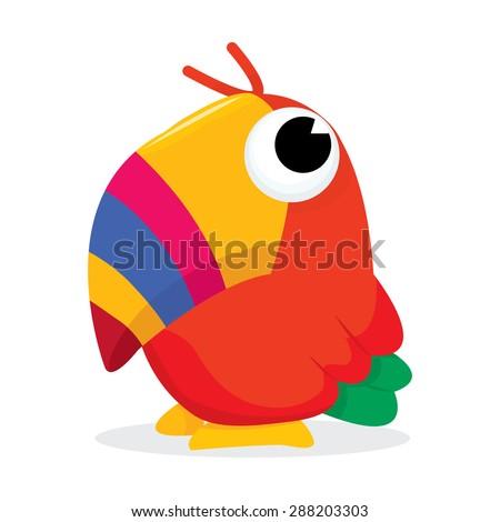 Colorful beak cartoon tropical bird vector illustration.