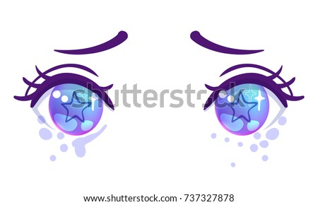 Colorful Beautiful Eyes In Anime Manga Style With Shiny Light Reflections Bright Vector