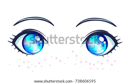 Stock Photo Colorful beautiful eyes in anime (manga) style with shiny light reflections. Bright vector illustration isolated. Emotions: expression of sadness. Pastel goth colors. Japanese kawaii cartoon.