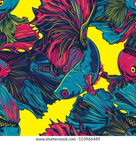 colorful betta fish seamless...