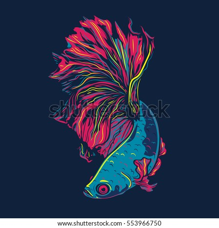 colorful betta fish vector