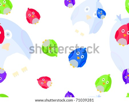 Colorful bird seamless pattern. Vector illustration.