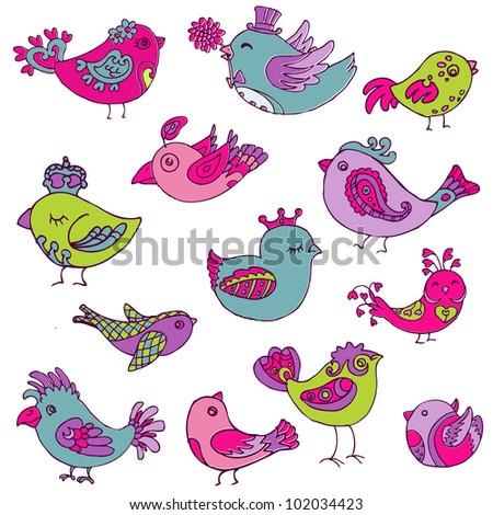 colorful birds doodle