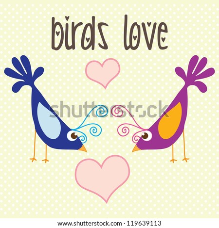 Colorful Birds love, vintage background, vector illustration - stock vector