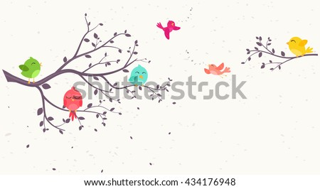 colorful Birds on beautiful trees