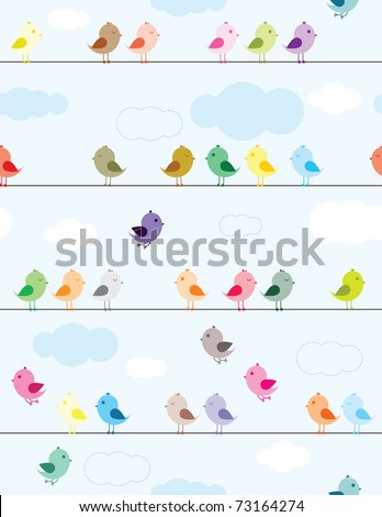 Colorful birds sitting on wires seamless pattern for kids