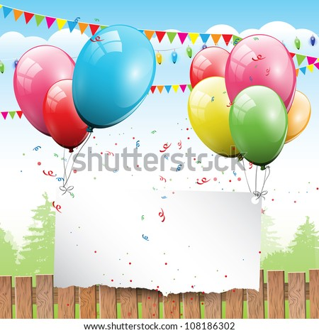 Colorful Birthday background with balloons and place for text