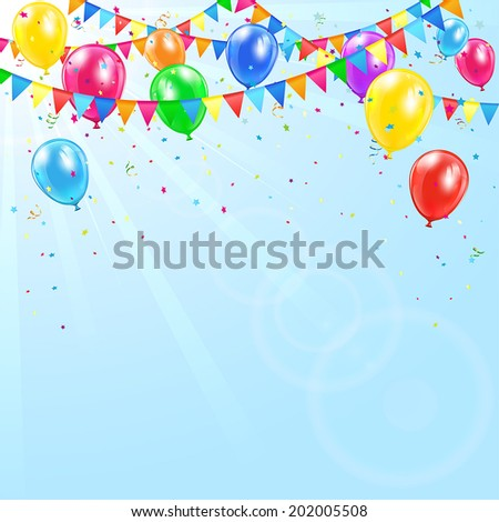 Colorful birthday balloons pennants tinsel and confetti on sky background illustration
