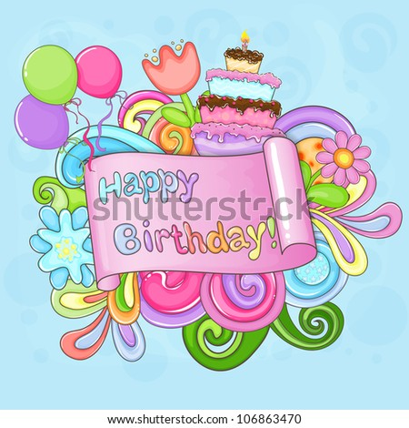 Colorful Birthday Greeting Card With Flowers, Balloons And Cake. Stock