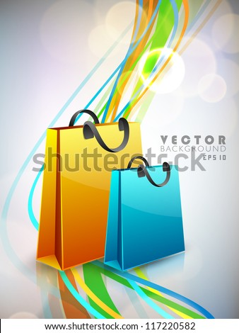Colorful blank paper shopping bag on wave background. EPS 10.