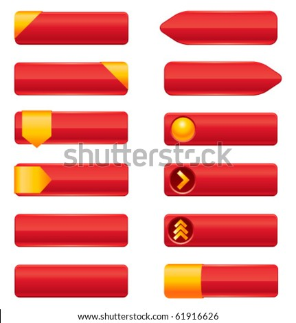Colorful blank premium web buttons. Glossy vector illustration. - stock vector
