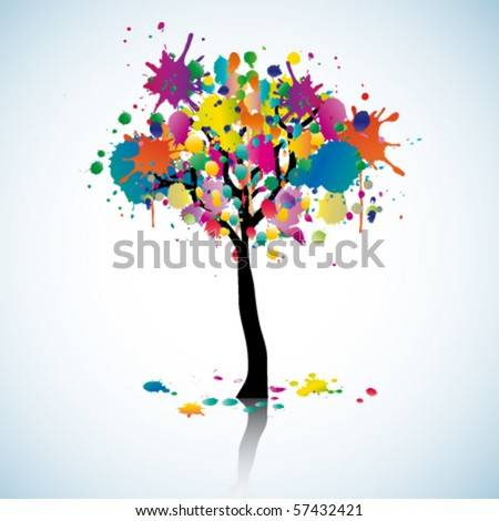 Colorful blot tree