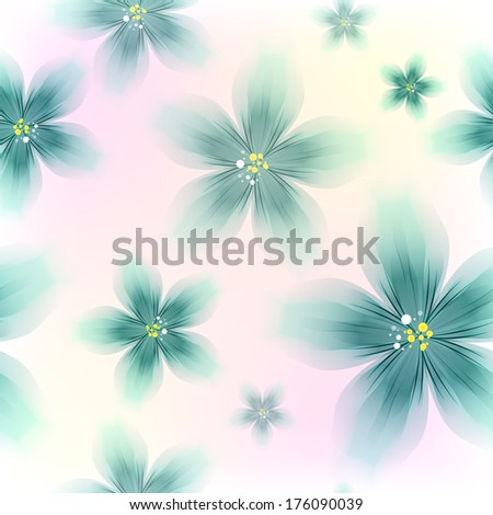 Colorful Blue Floral Seamless Pattern