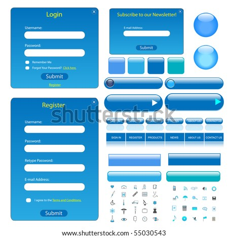 Colorful blue web template with forms, bars, buttons and many icons.