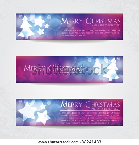 Colorful blurry Christmas banners with stars and Christmas tree