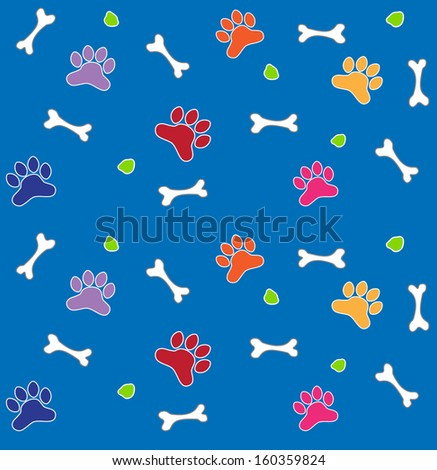 Colorful Bones and Paws Pattern - Colorful pattern of bones and dog paws. Eps10