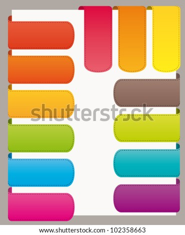 Colorful bookmarks ribbons set for website or commercial use. Vector collection.