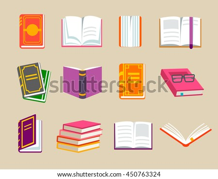 Colorful books icons set, vector illustration. Learn and study. With opened book object, closed book. Education and knowledge.