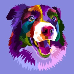colorful border collie dog isolated on pop art style. vector illustration.