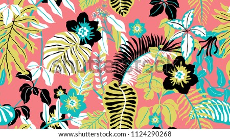 Colorful botanical seamless pattern, hand drawn tropical plants on pink background, blue, pink, yellow and black tones
