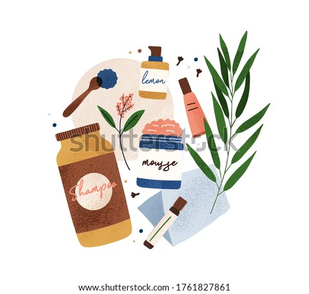 Colorful bottle and tubes of organic cosmetics with natural ingredients vector flat illustration. Eco friendly body, face and skincare isolated. Jars of beauty care composition with design elements